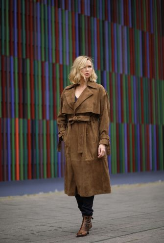 MUNICH, GERMANY - MAY 13: Veronica Ferres wearing Drykorn leather coat on May 13, 2020 in Munich, Germany. (Photo by Jeremy Moeller/Getty Images)