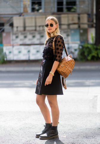 BERLIN, GERMANY - JULY 06: Alessa Winter wearing MCM backpack sheer blouse, black skirt during the Mercedes-Benz Fashion Week Berlin Spring/Summer 2018 at Kaufhaus Jandorf on July 6, 2017 in Berlin, Germany. (Photo by Christian Vierig/Getty Images)