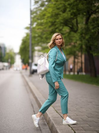 MUNICH, GERMANY - MAY 13: Veronica Ferres wearing Drykorn suit, Furla bag and Veja sneaker on May 13, 2020 in Munich, Germany. (Photo by Jeremy Moeller/Getty Images)