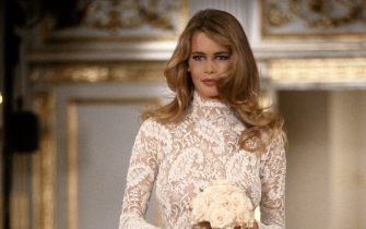 NEW YORK, NY - CIRCA 1991: Claudia Schiffer at the Carolyne Roehm Fall 1991 show circa 1991 in New York City. (Photo by PL Gould/IMAGES/Getty Images)