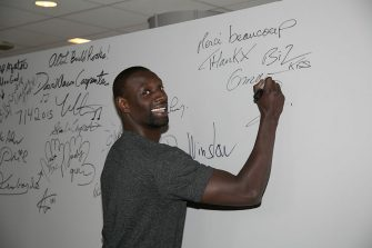 """NEW YORK, NY - JULY 17:  French actor Omar Sy talks about his film """"Samba"""" at AOL BUILD Speaker Series at AOL Studios In New York on July 17, 2015 in New York City.  (Photo by Nomi Ellenson/FilmMagic)"""
