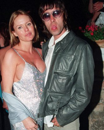 CANNES, FRANCE - 1999: Oasis singer Liam Gallagher and wife Patsy Kensit in the Cannes 'Tube Tales' party, France. (Photo by Dave Hogan/Getty Images)