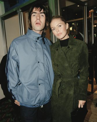 Singer Liam Gallagher, of rock group Oasis, with his girlfriend, actress Patsy Kensit at the premiere of 'Grace Of My Heart', London, 19th November 1996. (Photo by Dave Benett/Getty Images)