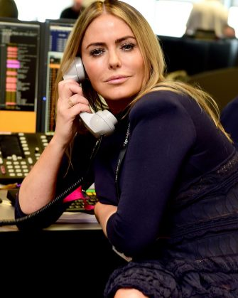 Patsy Kensit on the trading floor during the BGC Partners Charity Day in London's Docklands.