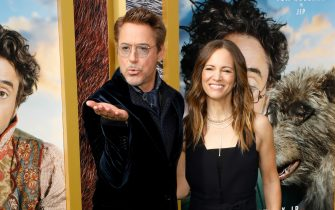 "WESTWOOD, CALIFORNIA - JANUARY 11: Robert Downey Jr. and Susan Downey attend the world premiere of ""Dolittle"" at Regency Village Theatre on January 11, 2020 in Westwood, California. (Photo by Taylor Hill/WireImage)"