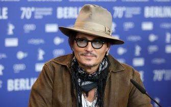 "BERLIN, GERMANY - FEBRUARY 21: Johnny Depp is seen at the ""Minamata"" press conference during the 70th Berlinale International Film Festival Berlin at Grand Hyatt Hotel on February 21, 2020 in Berlin, Germany. (Photo by Andreas Rentz/Getty Images)"