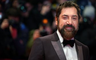 "BERLIN, GERMANY - FEBRUARY 26: Javier Bardem arrives for the ""The Roads Not Taken"" premiere during the 70th Berlinale International Film Festival Berlin at Berlinale Palace on February 26, 2020 in Berlin, Germany. (Photo by Thomas Niedermueller/Getty Images)"