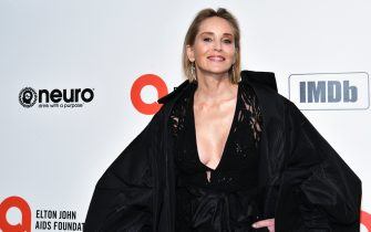 WEST HOLLYWOOD, CALIFORNIA - FEBRUARY 09: Sharon Stone attends the 28th Annual Elton John AIDS Foundation Academy Awards Viewing Party Sponsored By IMDb And Neuro Drinks on February 09, 2020 in West Hollywood, California. (Photo by Rodin Eckenroth/WireImage)