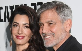 "LONDON, ENGLAND - MAY 15: Amal Clooney and George Clooney attend the ""Catch 22"" UK premiere on May 15, 2019 in London, United Kingdom. (Photo by Stuart C. Wilson/Getty Images)"