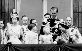 This coming Thursday, 20th November, Britain's Queen Elizabeth II and her husband Prince Philip, the Duke of Edinburgh, will celebrate their golden wedding anniversary. A golden wedding service for the Queen and Prince Philip - seen on the balcony of Buckingham Palace on June 2nd 1953 following her coronation - will be held at Westminster Abbey to celebrate the event which is expected to be attended by a number of European royal households making it the largest gathering of foreign royalty.  Also seen in the file photo are the Queen's first two children Prince Charles and Princes Anne and (on right) Queen Elizabeth the Queen Mother.    ANSA/TO