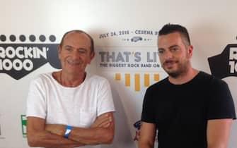 Raoul e Mirko Casadei a Rockin'1000, 24 luglio 2016. ANSA