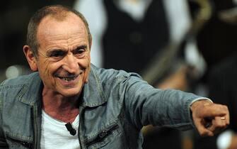 Raoul Casadei durante la registrazione del'ultima puntata di Kalispera. ANSA/DANIEL DAL ZENNARO
