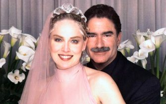 Feb. 16, 1998 - Los Angeles, California, U.S. - Actress SHARON STONE & new husband, San Francisco Examinernewspaper editor PHIL BRONSTEIN at their wedding in 1998. (Credit: � ZUMAPRESS.com)