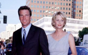 Jul 20, 1998; Los Angeles, CA, USA; DENNIS QUAID American Actor with his wife MEG RYAN American Actress Arriving for the Los Angeles premiere of the new Walt Disney movie 'The Parent Trap'. .  (Credit Image: ONS/ZUMAPRESS.com)