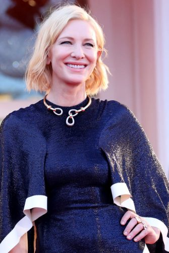 """VENICE, ITALY - SEPTEMBER 02: Cate Blankett walks the red carpet ahead of the Opening Ceremony and the """"Lacci"""" red carpet during the 77th Venice Film Festival at  on September 02, 2020 in Venice, Italy. (Photo by Franco Origlia/Getty Images)"""