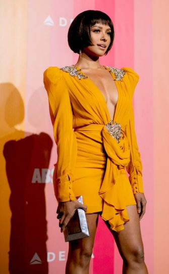MILAN, ITALY - SEPTEMBER 22: Kat Graham walks the red carpet ahead of amfAR Gala at La Permanente on September 22, 2018 in Milan, Italy. (Photo by Kevin Tachman/Getty Images)