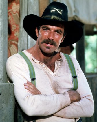 American actor Tom Selleck as Orrin Sackett in the TV movie 'The Sacketts', directed by Robert Totten, 1979. (Photo by Silver Screen Collection/Getty Images)