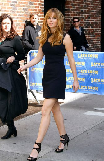 """NEW YORK, NY - MARCH 20: Jennifer Lawrence arrives for """"The Late Show with David Letterman"""" at Ed Sullivan Theater on March 20, 2012 in New York City. (Photo by Donna Ward/Getty Images)"""