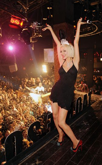 LAS VEGAS - DECEMBER 31: ***EXCLUSIVE COVERAGE*** Christina Aguilera Hosts New Year's Eve at TAO Nightclub at the Venetian on December 31, 2009 in Las Vegas, Nevada. (Photo by Denise Truscello/WireImage)