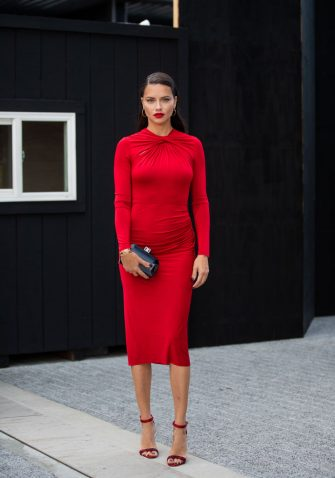 NEW YORK, NEW YORK - SEPTEMBER 08: Adriana Lima is seen wearing red dress outside Jason Wu during New York Fashion Week September 2019 on September 08, 2019 in New York City. (Photo by Christian Vierig/Getty Images)
