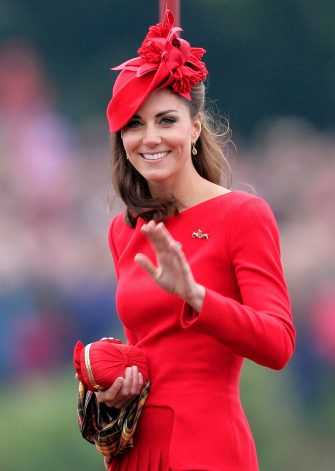 LONDON, UNITED KINGDOM - JUNE 03: (EMBARGOED FOR PUBLICATION IN UK NEWSPAPERS UNTIL 48 HOURS AFTER CREATE DATE AND TIME) Catherine, Duchess of Cambridge onboard the Royal Barge 'Spirit of Chartwell' during the Diamond Jubilee Thames River Pageant on June 3, 2012 in London, England. For only the second time in its history the UK celebrates the Diamond Jubilee of a monarch. Her Majesty Queen Elizabeth II celebrates the 60th anniversary of her ascension to the throne. Thousands of well-wishers from around the world have flocked to London to witness the spectacle of the weekend's celebrations. The Queen along with all members of the royal family will participate in a River Pageant with a flotilla of a 1,000 boats accompanying them down the Thames. (Photo by Indigo/Getty Images)
