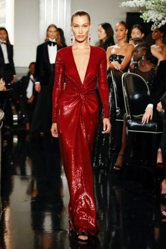 NEW YORK, NEW YORK - SEPTEMBER 07: Bella Hadid walks the runway at the Ralph Lauren Fall 2019 Collection at William and Wall on September 07, 2019 in New York City. (Photo by JP Yim/Getty Images)
