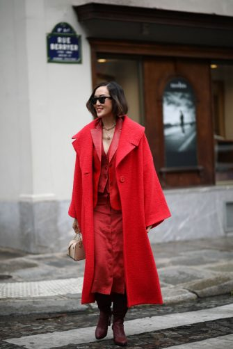 PARIS, FRANCE - FEBRUARY 29: Chriselle Lim is seen outside Altuzarra show during Paris Fashion week Womenswear Fall/Winter 2020/2021 Day Six on February 29, 2020 in Paris, France. (Photo by Jeremy Moeller/Getty Images)