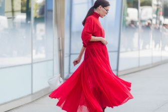 NEW YORK, NY - SEPTEMBER 13: Evangelie Smyrniotaki  wearing red dress seen in the streets of Manhattan outside Delpozo during New York Fashion Week on September 13, 2017 in New York City. (Photo by Christian Vierig/Getty Images)