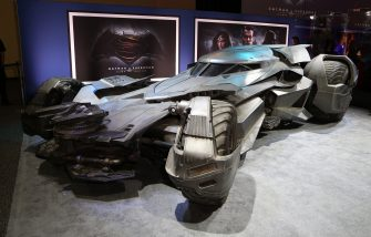 "LAS VEGAS, NV - JUNE 09:  The Batmobile from the upcoming movie ""Batman v Superman: Dawn of Justice"" is displayed during the Licensing Expo 2015 at the Mandalay Bay Convention Center on June 9, 2015 in Las Vegas, Nevada.  (Photo by Gabe Ginsberg/Getty Images)"