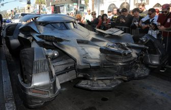 HOLLYWOOD, CA - OCTOBER 21:  The Batmobile featured in the film 'Superman v Batman: Dawn Of Justice' at Batman creator Bob Kane's  Star ceremony held On The Hollywood Walk Of Fame on October 21, 2015 in Hollywood, California.  (Photo by Albert L. Ortega/Getty Images)