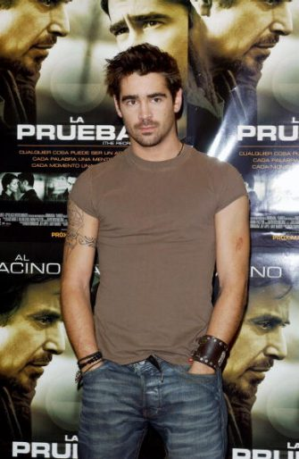 """MADRID, SPAIN - MARCH 17:  Actor Colin Farrell attends the photo shoot for the Spanish promotion of his movie """"The Recruit"""" March 17, 2003 at Hotel Palace in Madrid, Spain. (Photo by Carlos Alvarez/Getty Images)"""
