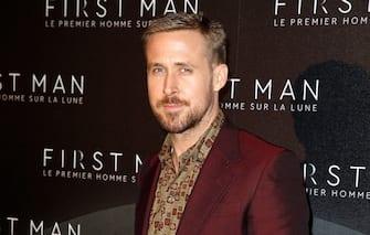 "PARIS, FRANCE - SEPTEMBER 25:  Actor Ryan Gosling attends ""First Man"" Paris Premiere at Cinema UGC Normandie on September 25, 2018 in Paris, France.  (Photo by Laurent Viteur/Getty Images)"