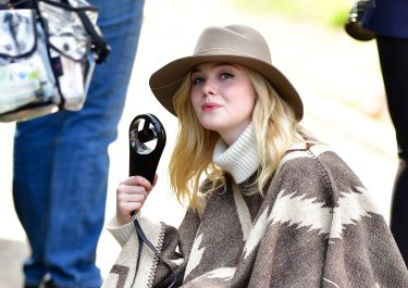 NEW YORK, NY - SEPTEMBER 26:  Elle Fanning seen on location for Woody Allen's untitled movie in Central Park on September 26, 2017 in New York City.  (Photo by James Devaney/GC Images)