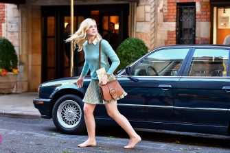 NEW YORK, NY - OCTOBER 18:  Elle Fanning seen on location for Woody Allen's untitled movie on October 18, 2017 in New York City.  (Photo by James Devaney/GC Images)
