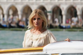 Actress Isabella Ferrari travels through Venice on a water taxi during the 65th Venice Film Festival on August 29, 2008 in Venice, Italy. (Photo by Daniele Venturelli/WireImage)