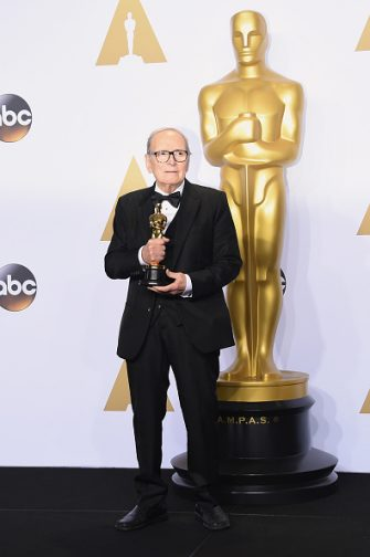 HOLLYWOOD, CA - FEBRUARY 28:  Composer Ennio Morricone winner of the Best Original Score award for ''The Hateful Eight' poses in the press room during the 88th Annual Academy Awards at Loews Hollywood Hotel on February 28, 2016 in Hollywood, California.  (Photo by Jason Merritt/Getty Images)