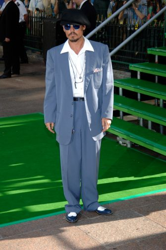 JOHNNY DEPPUk Film premiere of Charlie And The Chocolate Factory,Odeon Cinema,Leicester SquareLondon, 17th July 2005full length full-length blue glasses suit white shirt goatie beard beret hat gangster shoeswww.capitalpictures.comsales@capitalpictures.com©Capital Pictures