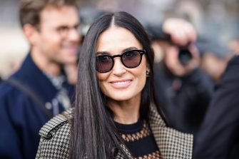 PARIS, FRANCE - FEBRUARY 25: Demi Moore wears sunglasses, outside Dior, during Paris Fashion Week - Womenswear Fall/Winter 2020/2021, on February 25, 2020 in Paris, France. (Photo by Edward Berthelot/Getty Images)