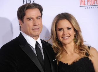"""WESTWOOD, CA - JANUARY 27:  Actors John Travolta and Kelly Preston arrive at the premiere of """"FX's """"American Crime Story - The People V. O.J. Simpson"""" at Westwood Village Theatre on January 27, 2016 in Westwood, California.  (Photo by Gregg DeGuire/WireImage)"""