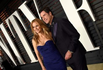 BEVERLY HILLS, CA - FEBRUARY 22:  Actors Kelly Preston (L) and John Travolta attend the 2015 Vanity Fair Oscar Party hosted by Graydon Carter at the Wallis Annenberg Center for the Performing Arts on February 22, 2015 in Beverly Hills, California.  (Photo by Larry Busacca/VF15/Getty Images)