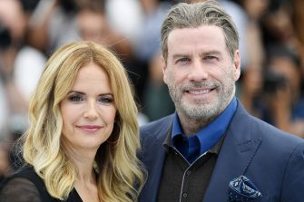 """CANNES, FRANCE - MAY 15:  Kelly Preston and John Travolta attend the photocall for """"Rendezvous With John Travolta - Gotti"""" during the 71st annual Cannes Film Festival at Palais des Festivals on May 15, 2018 in Cannes, France.  (Photo by Pascal Le Segretain/Getty Images)"""