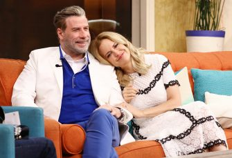 "MIAMI, FL - JUNE 8:  John Travolta and Kelly Preston are seen on the set of ""Despierta America"" at Univision Studios to promote the film ""GOTTI"" on June 8, 2018 in Miami, Florida.  (Photo by Alexander Tamargo/Getty Images)"