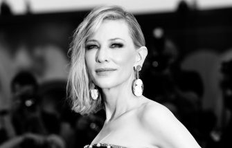 """VENICE, ITALY - AUGUST 31: [Editor's Note: Image was converted to black and white] Cate Blanchett walks the red carpet ahead of the """"Joker"""" screening during the 76th Venice Film Festival at Sala Grande on August 31, 2019 in Venice, Italy. (Photo by Vittorio Zunino Celotto/Getty Images)"""