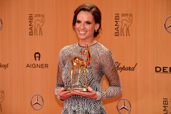 BERLIN, GERMANY - NOVEMBER 12:  Hilary Swank is seen with her award at the Bambi Awards 2015 winners board at Stage Theater on November 12, 2015 in Berlin, Germany.  (Photo by Clemens Bilan/Getty Images)