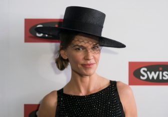 MELBOURNE, AUSTRALIA - OCTOBER 31:  American actrees Hilary Swank poses at the Swisse Marquee on Derby Day at Flemington Racecourse on October 31, 2015 in Melbourne, Australia.  (Photo by Luis Ascui/Getty Images)