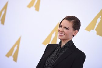 Actress Hilary Swank arrives for a luncheon in celebration of the Hollywood Costume exhibition, at the Wilshire May Company Building, the future site of the Academy Museum Of Motion Pictures in Los Angeles on October 8, 2014. The exhibition, which explores the role of costume design in storytelling, features over 140 costumes and is open to the public through March 2nd.   AFP PHOTO / Robyn Beck        (Photo credit should read ROBYN BECK/AFP via Getty Images)