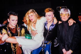 Boy George, Cornelia Guest, Marilyn and Andy Warhol during the Hall and Oates after concert party on May 23rd 1985 (Photo by Dave Hogan/Getty Images)