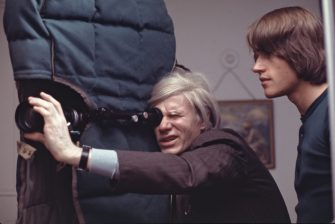 Andy Warhol filming an early scene of director Paul Morriseys Women in Revolt, 1970. (Photo by Jack Mitchell/Getty Images)
