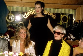 NEW YORK, NY - CIRCA 1985: Cornelia Guest, Brooke Shields and Andy Warhol attend the Launch party for Pierre Cardin's perfume, Maxim's at Macy's New York circa 1985 in New York City. (Photo by PL Gould/IMAGES/Getty Images)