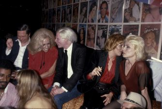 NEW YORK, NY - CIRCA 1979: Andy Warhol holds court with Lorna Luft and Debbie Harry at the Interview Party at Studio 54 circa 1979 in New York City. (Photo by PL Gould/IMAGES/Getty Images)